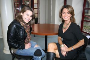 HCC Central sign-language student Shea Donnell and Fox 26 anchor Melissa Wilson