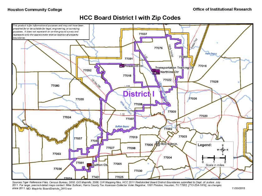 District I Zip Codes Map | Houston Community College - HCC