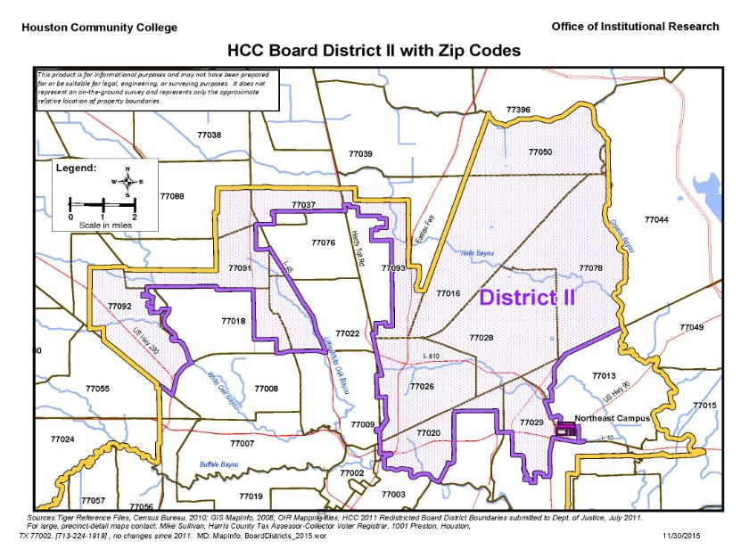District Ii Zip Codes Map Houston Community College Hcc