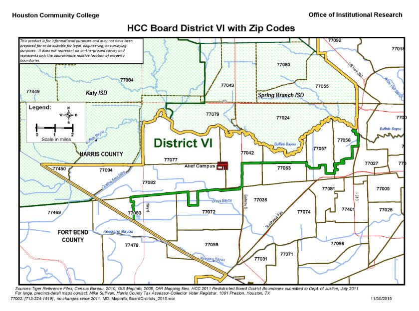 District Vi Zip Codes Map Houston Community College Hcc