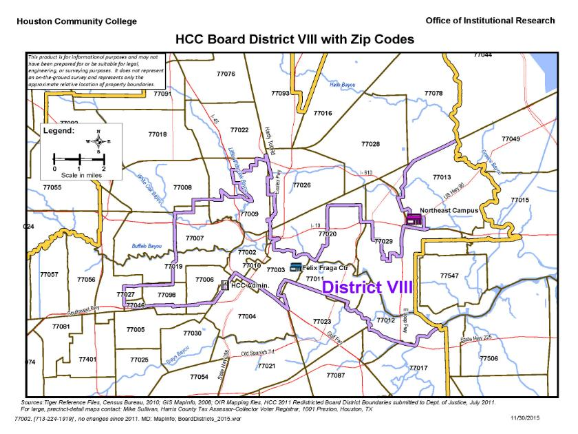 District VIII Zip Codes Map | Houston Community College - HCC