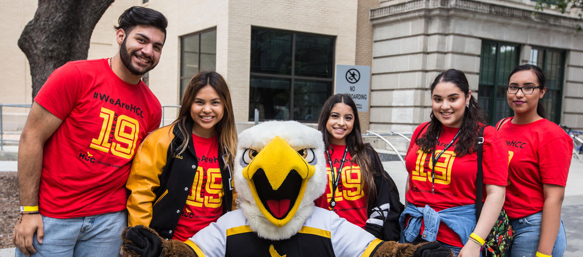 HCC Swoop mascot and students